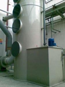 Anwendung 1 Detail Polypropylen-Turm, der für die VOC-Wäsche installiert wurde.