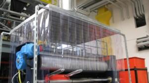 Absaughauben mit PVC-Streifen
